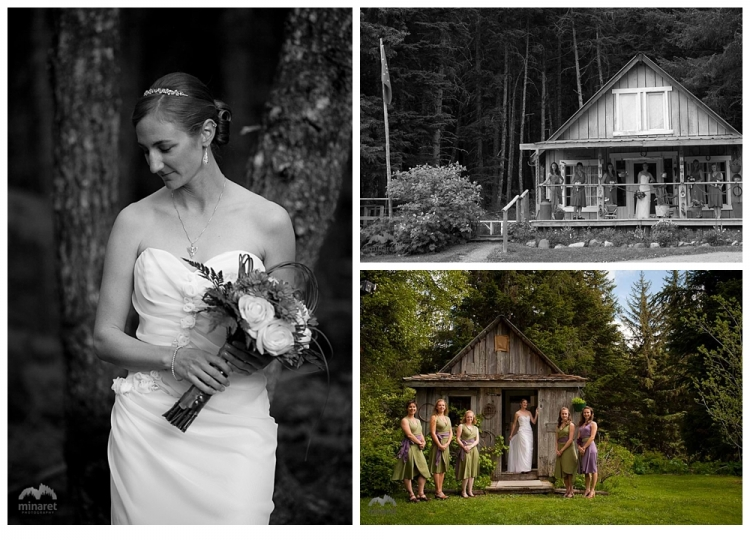 Photos of the bride and bridesmaids before a Girdwood, Alaska Wedding