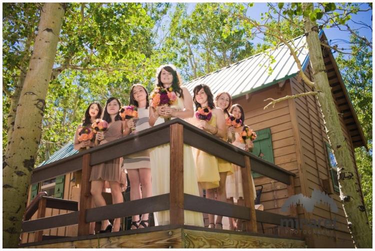 Bridesmaids posing for photos near Convict Lake