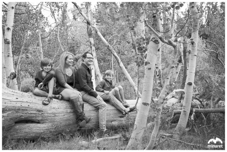 family sitting on a log in aspen trees, family portrait photographer