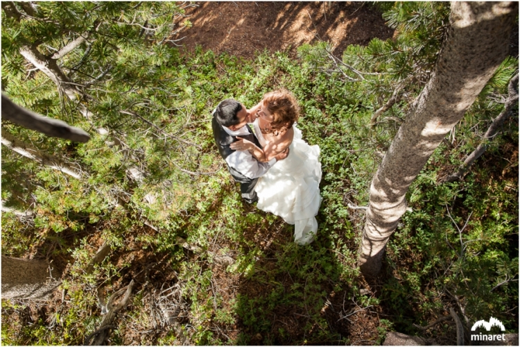Bride and Groom in the woods at Mammoth Lakes Wedding Photographer