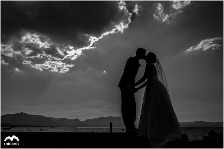 south lake tahoe wedding photographer at lake side beach and Grill